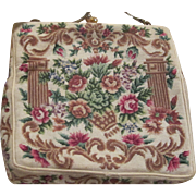 Stunning Hand Made Floral Petitipoint  Evening Bag Edwardian Era Vintage Bag Pocketbook
