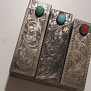 Art Deco  European Hand Engraved Silver Lipstick Mirror Holders Vintage Vanity Collection Trio Marked 800