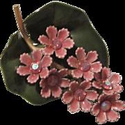Stunning Enamel Violet Purple Green Rhinestone Flower 1960s Vintage Brooch Pin