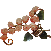 Gorgeous Natural Coral Carved Flowers Jade Swoboda Vintage Brooch Pin