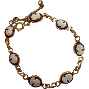 Art Deco Classic Cameo Gold Plated Vintage Bracelet Safety Chain