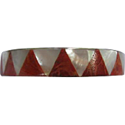 Fabulous Coral Mother of Pearl MOP Inlaid Silver Plated Vintage Bracelet