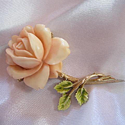 Signed ART Gorgeous Carved Coral Celluloid Enamel Rose Vintage Brooch Pin