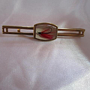 Hickock Signed Fishing Lure Tie Bar Vintage Retro Gold plated