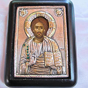 Artist Signed Hand Made Pure Sterling Silver 24K Gold Swarovski Crystals Holy Icon Byzantine Art Vintage Copy Italy