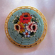 Lovely Mosaic Pin Italy Turquoise colorful Flowers Ornate Round Vintage Brooch Pin