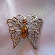 Sterling Silver Baltic Amber Butterfly Figural Vintage Brooch Pin