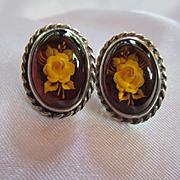 Genuine Amber Reverse Carved Flowers Sterling Silver Vintage Post Earrings