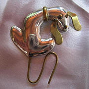 Adorable Dog Basset Hound two color Sterling Silver and  Gold Vermeil Signed Vintage Brooch Pin