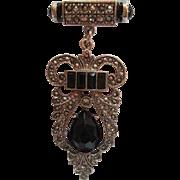 Art Deco Style Beautiful Marcasite Black stones Dangling Vintage Brooch Pin