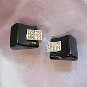 Trifari Signed Art Deco style Curved Black Pave Rhinestone Clip Vintage Earrings