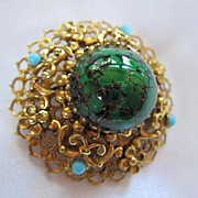 Gorgeous Art Class Austria Cabochon Gold plated Filigree Vintage Brooch Pin