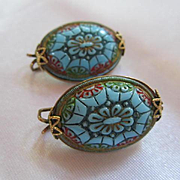 Gorgeous Hillcraft Turquoise color Oval Mosaic Design Gold filled clip backs with History Vintage Earrings