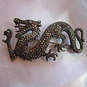 Antique Dragon Sparkling Marcasite Sterling Silver Vintage Brooch Pin