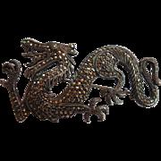 Antique Dragon Sparkling Marcasite Sterling Silver Vintage Brooch Pin