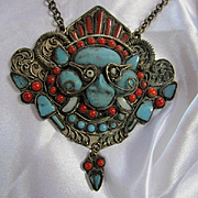 Incredible Vintage Statement Nepal Tibetian Coral Turquoise Glass Stone Hand Made Massive Pendant Necklace