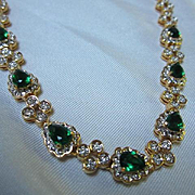 Elegant Jacqueline Bouvier Swarovski Emeralds and Clear Exclusive Vintage 24K Gold Plated Necklace