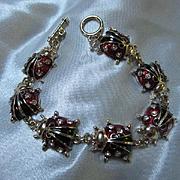 Lovely Lucky Lady Bug Figural Enamel Crystal Rhinestone Vintage Bracelet