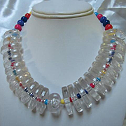 Fabulous Lucite Colored Bead Statement Vintage Necklace