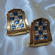 Stunning Art Deco design Sapphire and Clear Swarovski Crystal Gold Plated Classic Statement Vintage Clip Earrings