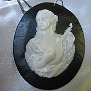 Gorgeous Huge Cameo Mandolin Statement Early Plastic Celluloid Vintage Pendant Necklace