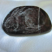 Signed Portsoy Marble Scotland Etched Bunny Rabbit Thick Natural Stone Vintage Brooch Pin