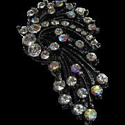 Sparkling Japanned AB Aurora Borealis Clear Swarovski Crystal Rhinestone Comet Vintage Statement Brooch Pin