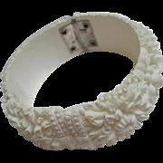 Gorgeous Celluloid White Carved Chrysanthemum Flowers Vintage Bangle Bracelet