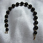 Classic 14K Gold Genuine Onyx Vintage Bracelet Marked