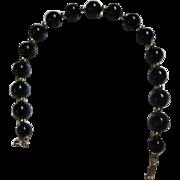 Classic 14K Gold Genuine Onyx Vintage Bracelet Marked