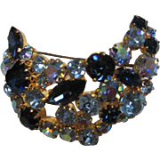 Austria Signed Gorgeous Blues AB Aurora Borealis Crescent Moon Vintage Brooch Pin