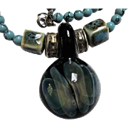 Gorgeous Turquoise Copper color Ceramic Square Beads Hand Made Hand Blown Glass Hologram Focal Pendant Vintage Necklace