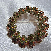 Vendome Signed Gorgeous Olivine Orange Austrian Crystals Wreath Vintage Brooch Pin
