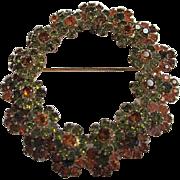 Vendome Signed Gorgeous Olivine Orange Austrian Crystals Wreath Vintage Brooch Pin