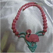Fabulous Whimsical Flamingo Figural Hand Made Polymer Clay Vintage Statement Necklace OAK
