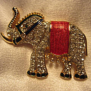Fab Statement Elephant Figural  Bright Enamel Crystal Rhinestone Trunk Up Vintage Brooch Pin