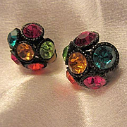 Gorgeous Jeweled Swarovski Crystals Jappaned Setting Vintage Clip Earrings