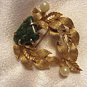 Lisner Signed Jade fx Pearl 1960s Leaves Vintage Brooch Pin