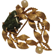 Lisner Signed Jade fx Pearl 1960s Leaves Vintage Brooch Pin