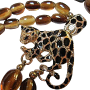 Fabulous Double Strand Amber Lucite Oval Beads Leopard Figural Clasp Vintage Necklace