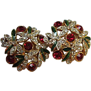 Exquisite Sphinx Signed Sparkling Swarovski Crystal Red Green Clear Holiday Vintage Clip Earrings