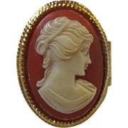 Gorgeous Signed Cameo Perfume Secret Compartment Vintage Adjustable Ring.