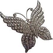 Sparkling Huge Art Deco Style Austrian Crystal Rhinestone Butterfly Figural  Vintage Brooch Pin