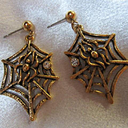 Cool Spider Figural on Spider Web Bezel Set Crystal Gold tone Vintage Post Earrings