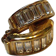 Christian Dior Signed Channel Set Baguette Crystal Half Hoop Gold Plated Vintage Earrings