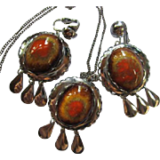 Mid Century Glazed Ceramic Cabochons Silver tone Vintage Necklace Earrings Set Demi