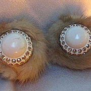 Fun Funky Rare Real Mink Fur Gold Austrian Crystal Double Row Rhinestone Vintage Clip Earrings