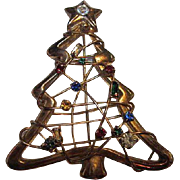 Wonderful Hand Wired Christmas Tree Different Shapes Colors Austrian Crystals Vintage Brooch Pin