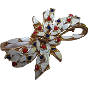 Patriotic Red White Blue Enamel Rhinestone Vintage Bow Brooch Pin