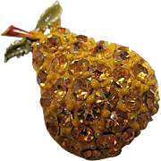 Sparkling Golden Pear Figural Enamel Austrian Crystal Rhinestone Vintage Brooch Pin